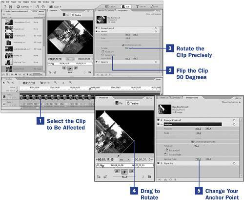 press the rotate right in adobe premiere elements
