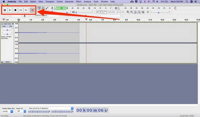 record voice over audacity start recording