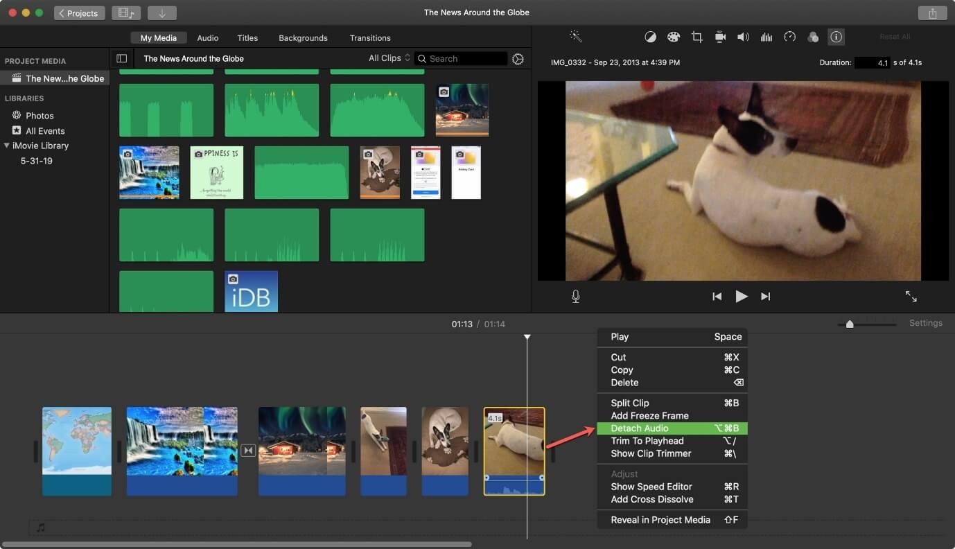remove-audio-from-video-using-iMovie-detach-audio