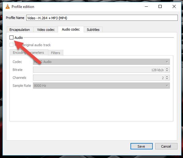 remove audio in vlc