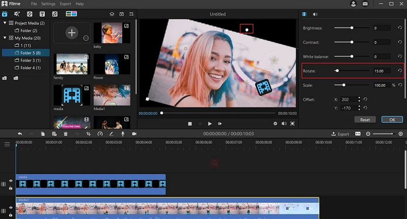 how to rotate video in filme