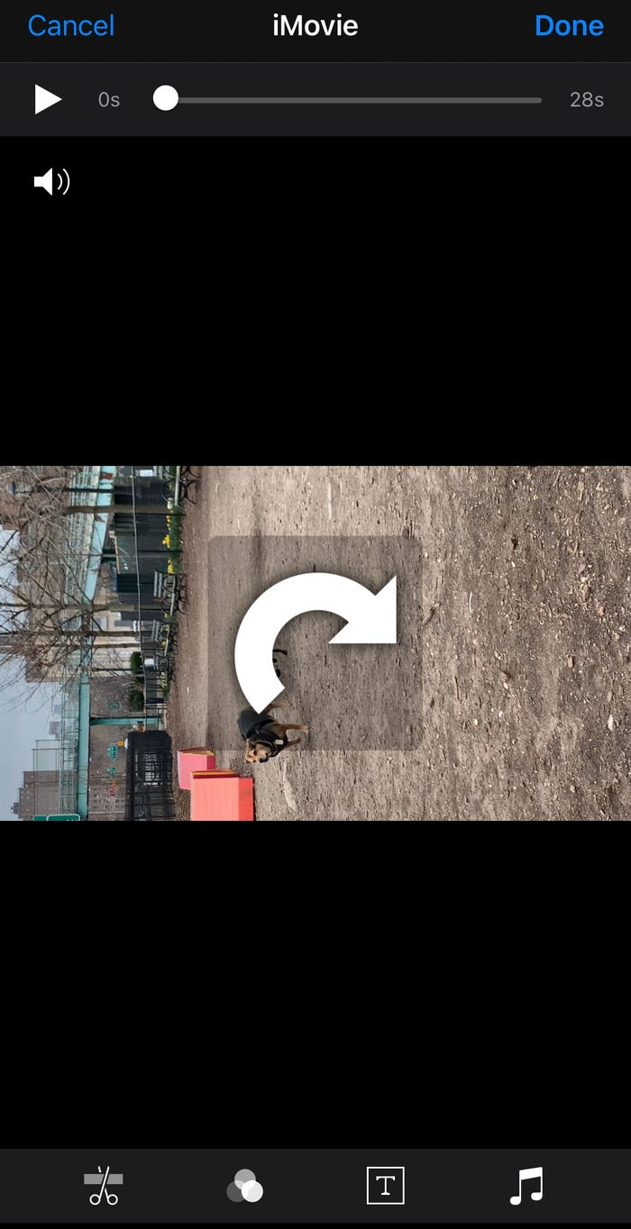 rotate your video in ios imovie
