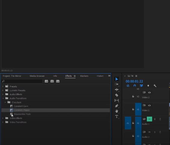 select exponential fade effect in premiere
