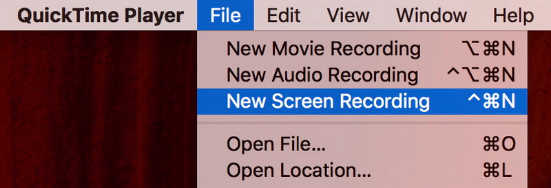 select new screen recording quicktime