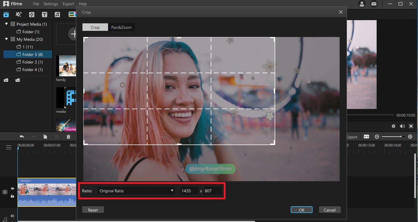 set the ratio to crop video clip in filme toremove watermark and text