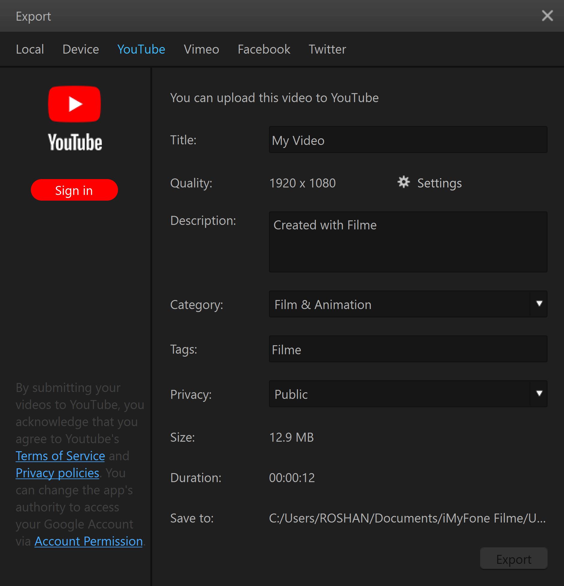 filme export to youtube