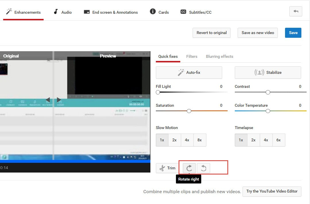 use youtube video editor to rotate or flip video