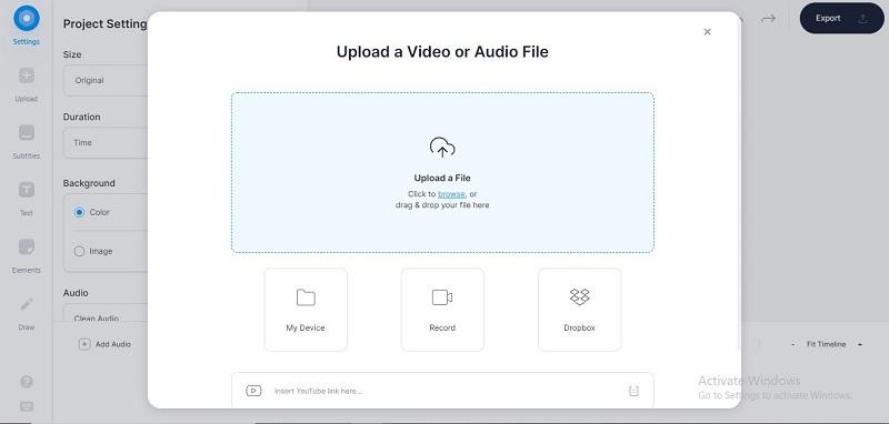 veedio upload video audio