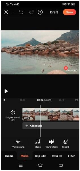 vivavideo video editor add music