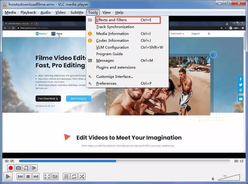 vlc rotate video effects filters