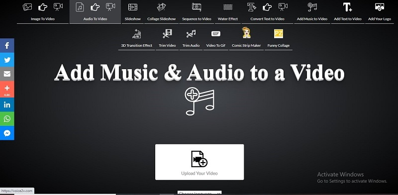 voice2v add music audio to video