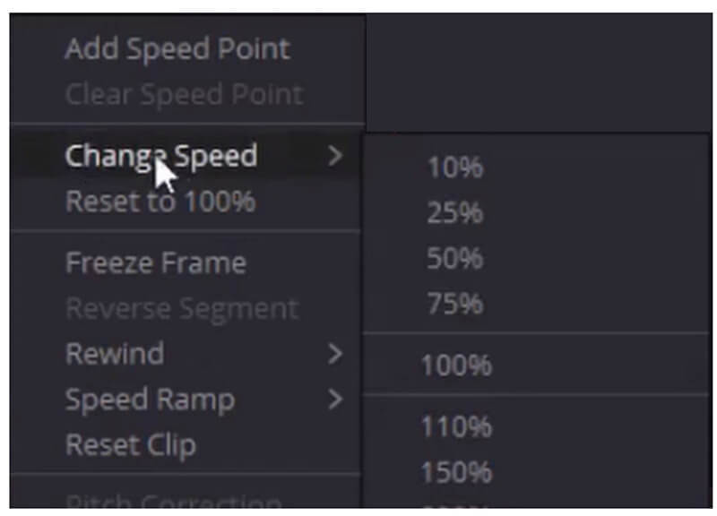 Davinci Change Speed