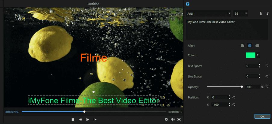 Filme Edit Options