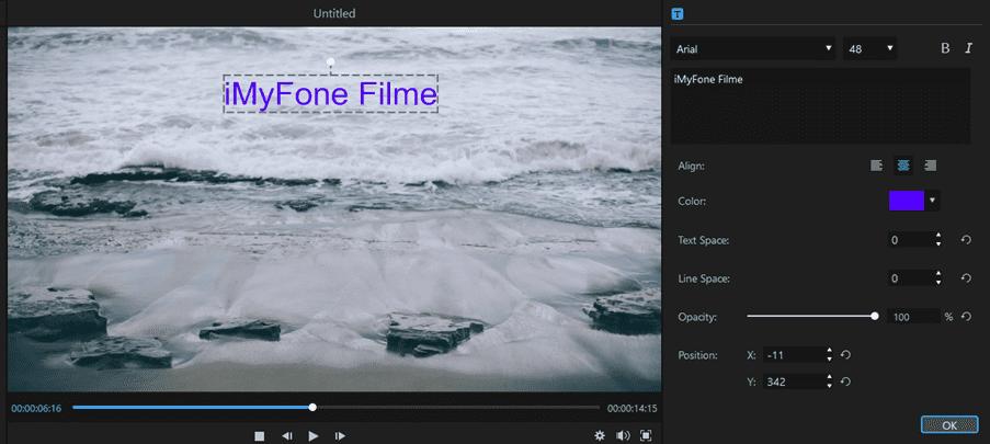 Filme Editing Options