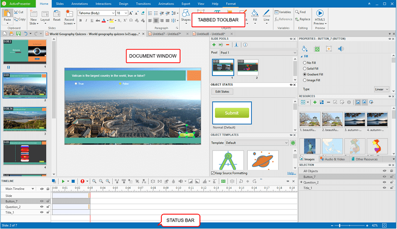 activepresenter interface with note