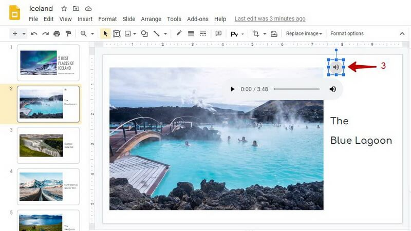 add audio google slides audio icon in the presentation