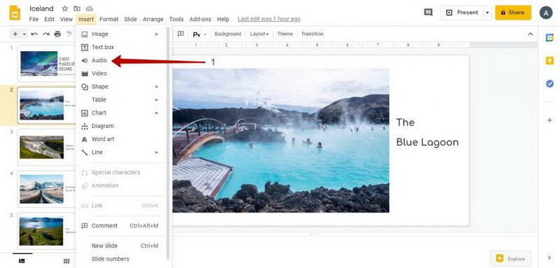 add audio google slides audio to presentation