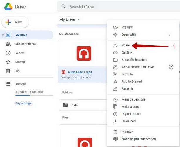 add audio google slides share