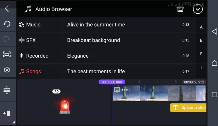 add audio kinemaster ios android