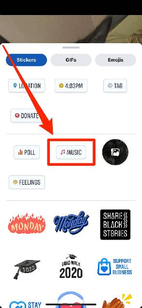add music sticker for facebook post