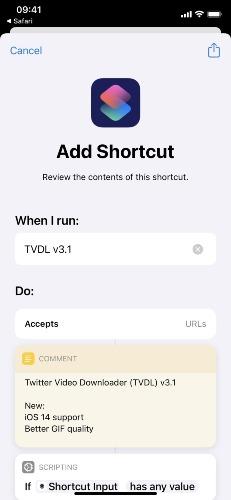 download twitter video iphone shortcut tvdl app