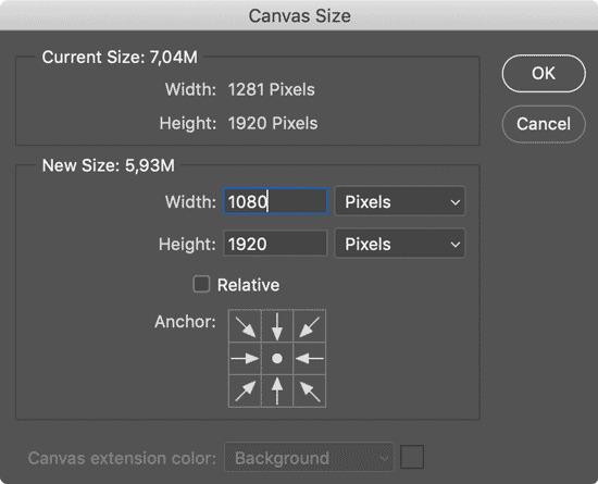 adjust canvas size