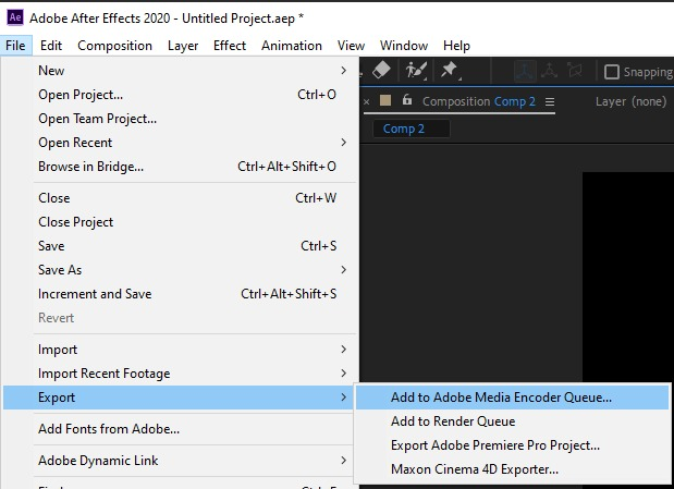 after effects export video