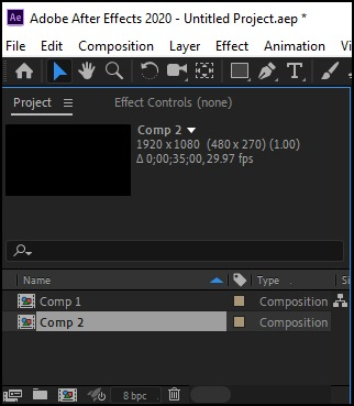 after effects select comp