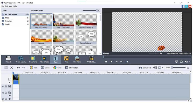 avs video editor text