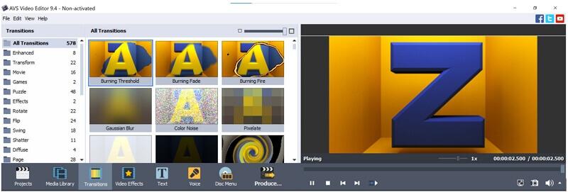 avs video editor transitions