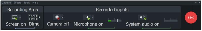 camtasia recording menu