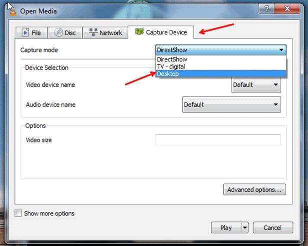 capture device in desktop vlc