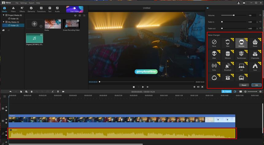 change exsiting audio track in filme