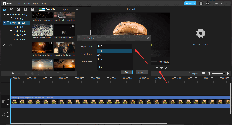 change video aspect on filme