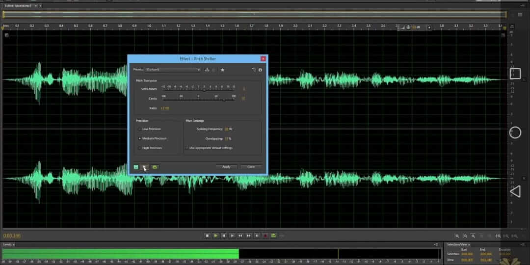 check audio voice in adobe audition