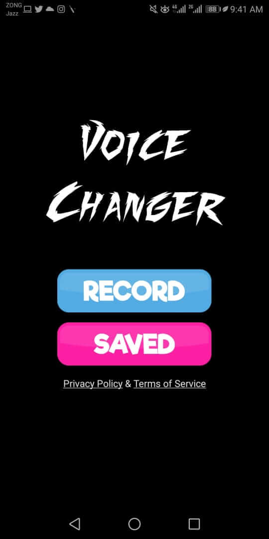 choose a record option in voice changer