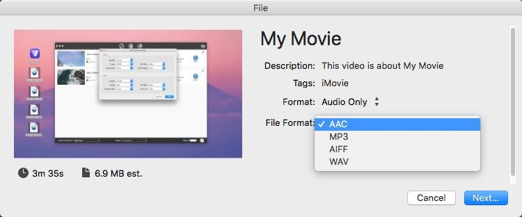 choose audio format imovie