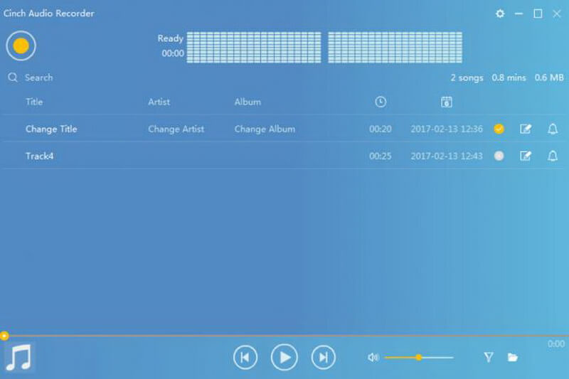 cinch audio recorder screen