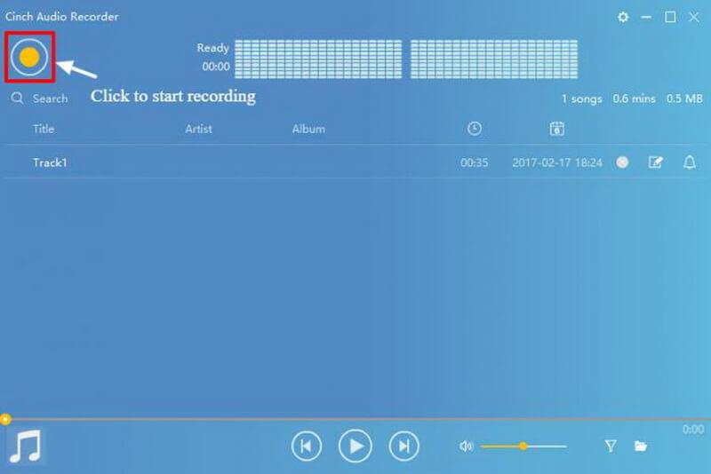 cinch audio recorder start recording