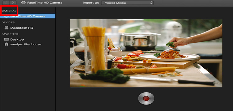 click camera option on imovie