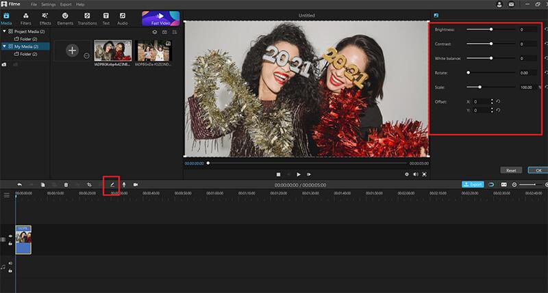 edit option on filme