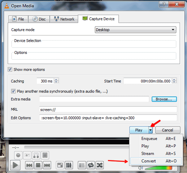 click the button of start in vlc