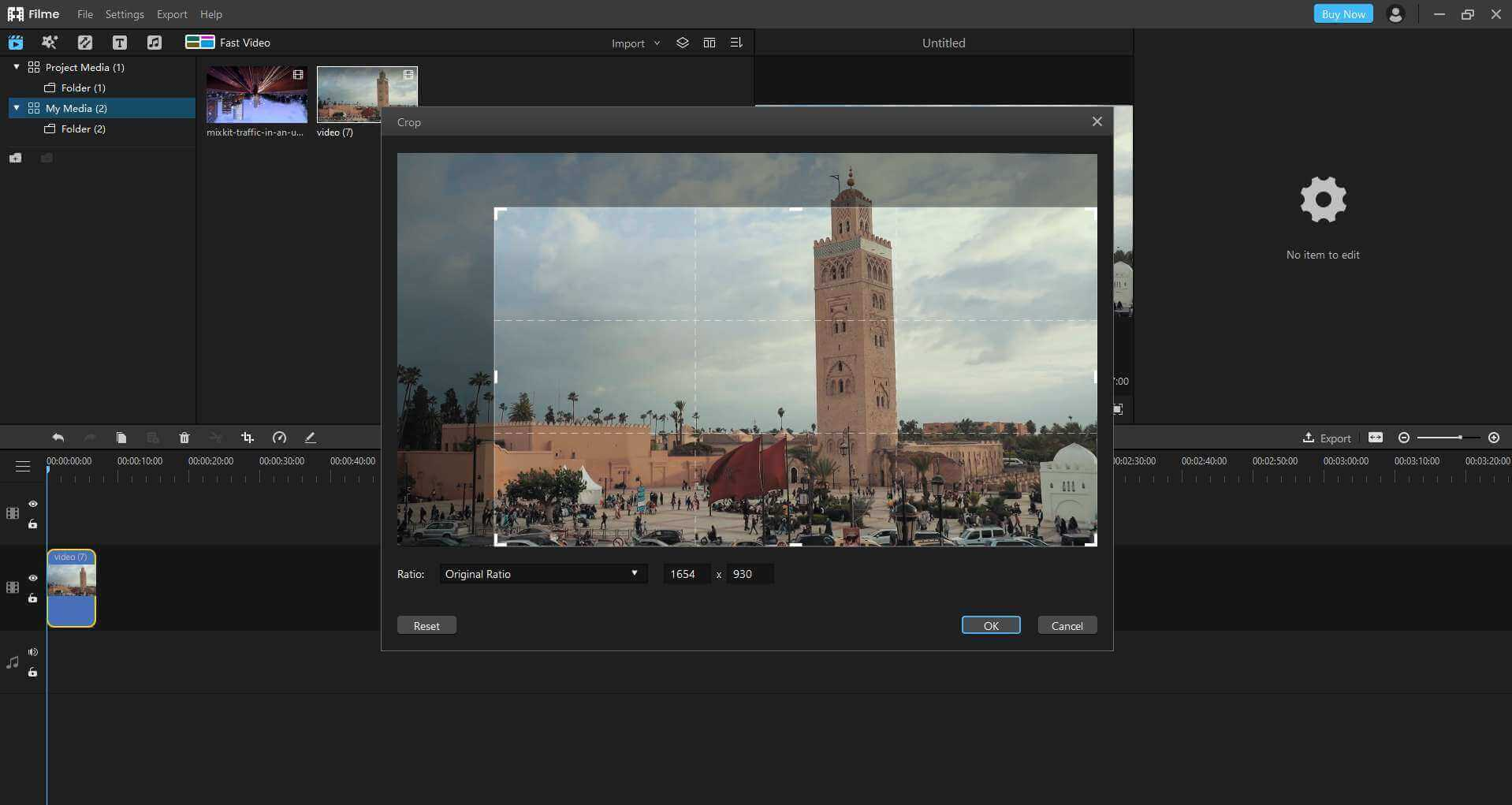 how to crop video using filme