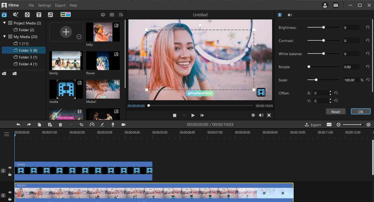crop video in imyfone filme