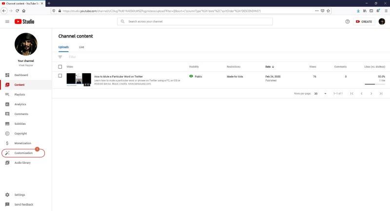customization youtube