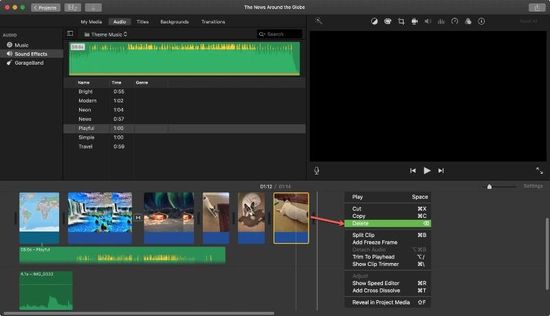 delete video iMovie
