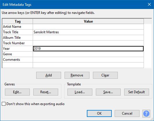 edit metadata tags in audacity