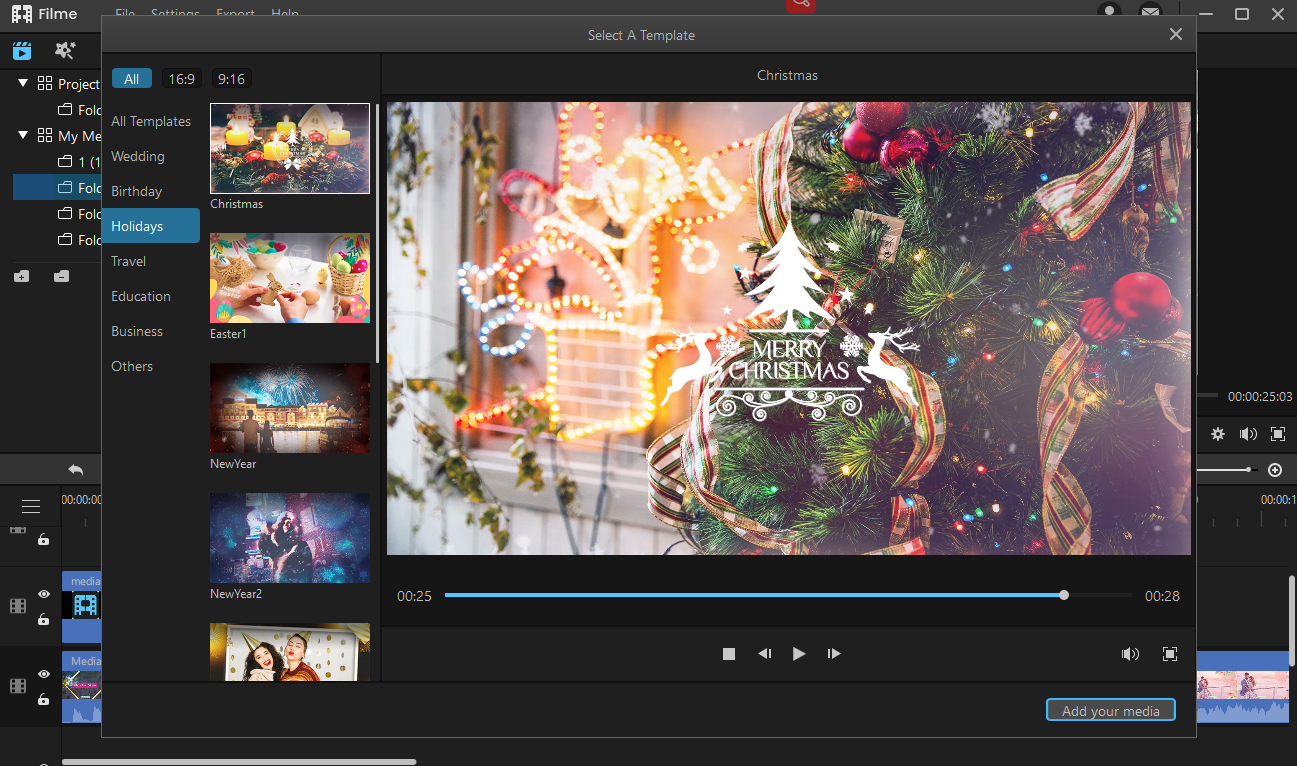 fast video template for christmas in filme