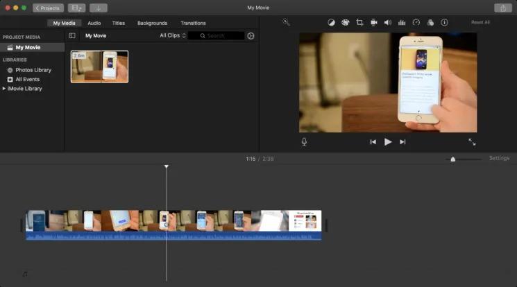 file loaded into imovie timeline
