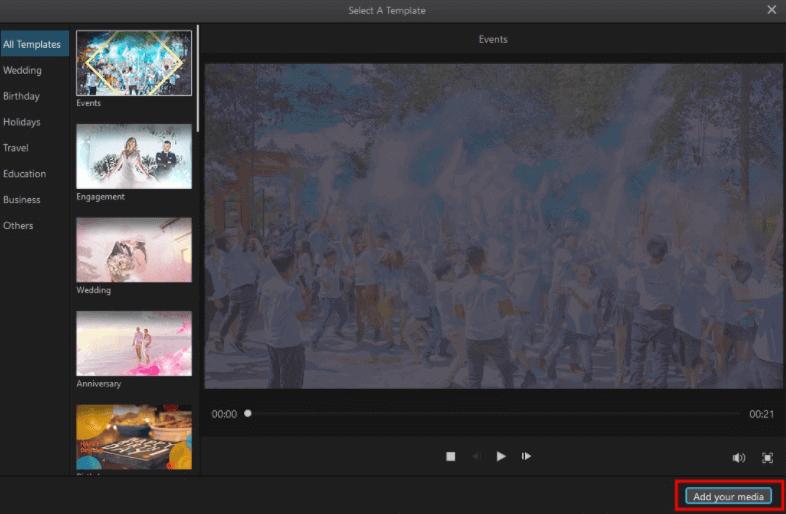 filme create slideshow templat step 1-2